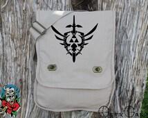 Zelda Inspired Master Sword and Shield Canvas Messenger Bag - Laptop Bag - Ipad Bag - School Bag - Diaper Bag
