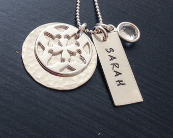 Mommy Necklace - Personalized Jewelry - Sterling Silver Hand Stamped Jewelry - Fleur de Lis Circle