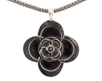 Kinetic #6/2 - Pendant - Sterling Silver - Iolite