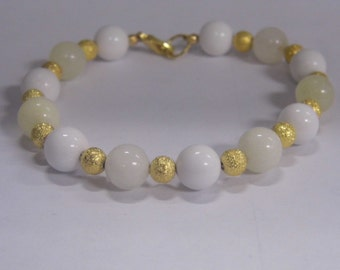 New Quartzite And Jade Beaded Bracelet