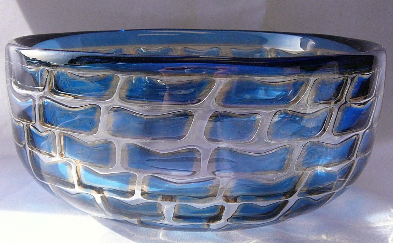 Ingeborg Lundin Orrefors Sweden Swedish Glass Ariel Glass Bowl
