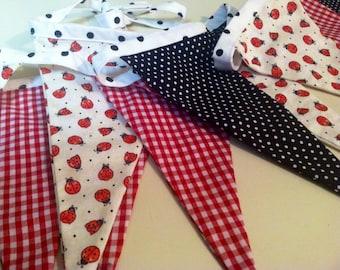 Ladybug Fabric Flag Banner, Bunting, Eco-Friendly Decoration