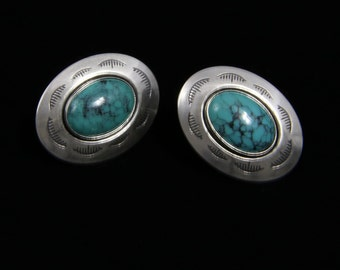 Vintage Navajo Button Style Post Earrings Stamped Sterling Silver Turquoise Native American Jewelry