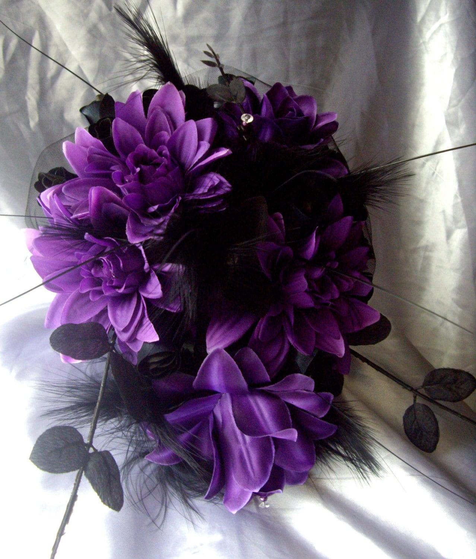 Black Wedding Flowers: Gothic Cross Purple Silk Flowers And Black Roses Wedding