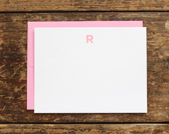 Custom Monogram Letterpress Notecard - Set of 10