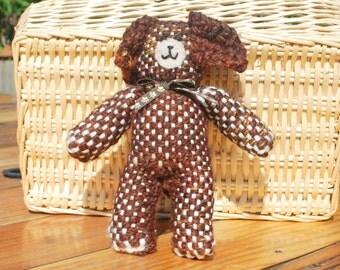 Handwoven Stuffed Puppy, Handwoven Children's Dog Stuffy, Soft Puppy Stuffed Animal, Woven Dog