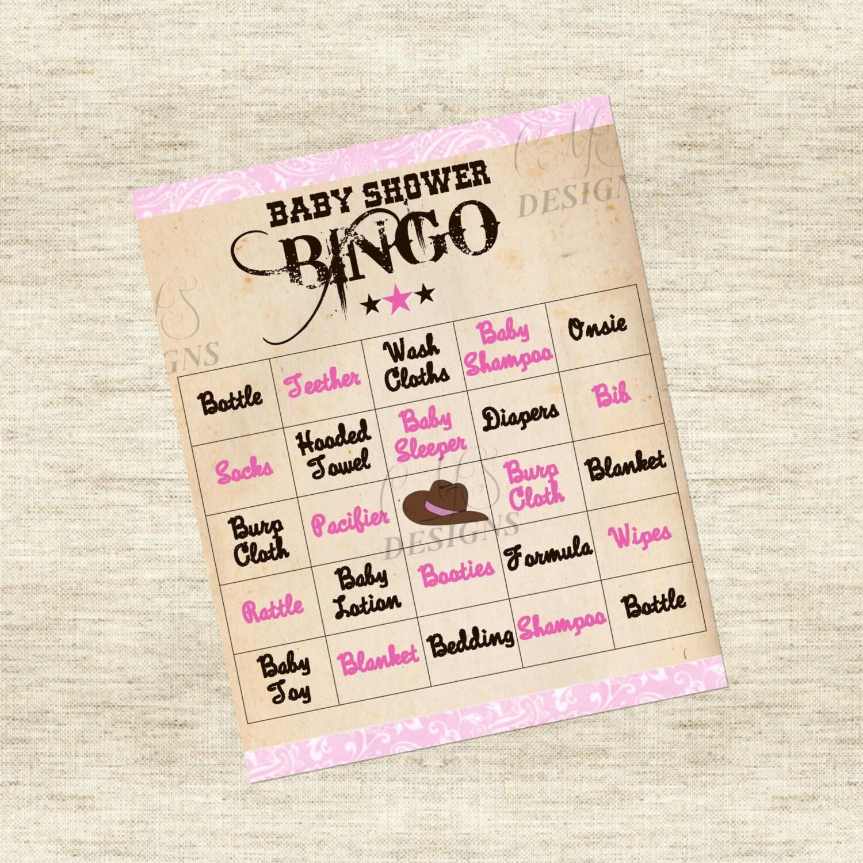cowgirl baby shower game bingo