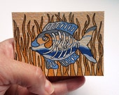 ACEO art OOAK mini art piece on paper called Seaweed acrylic on paper