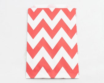 RED PAPER BAGS (Set of 12) - Red Chevron Flat Paper Bags (19cm x 12cm)