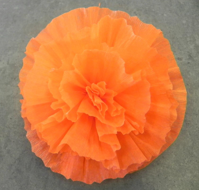 Mexican Crepe Paper Flower Hair Clip Orange 5 Diam