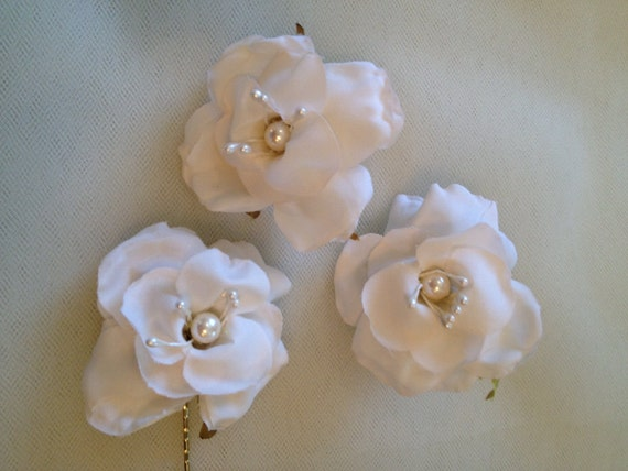 Flower Hair Pins, Ivory Rose Hairpins, Hair Accessory, Bridal Hair Clips  Bridal Hairpins, Bridal Hair, Set of 3  - IVORY ROSETTE  Hairpins