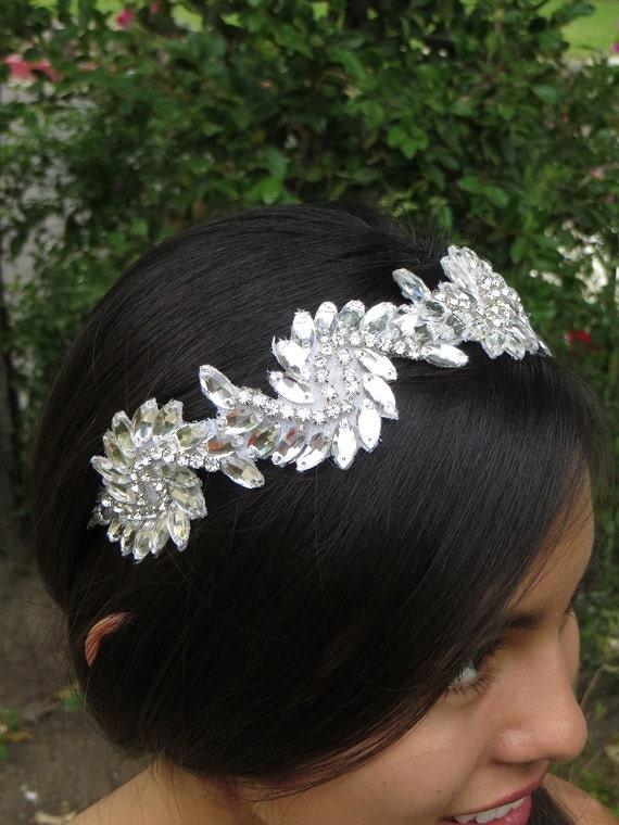 Art Deco Headpiece, Modern Vintage Headpiece, Bridal Headpiece,  Rhinestone Tiara, Crystal headpiece, Tiara  - ALEXIS  Headband