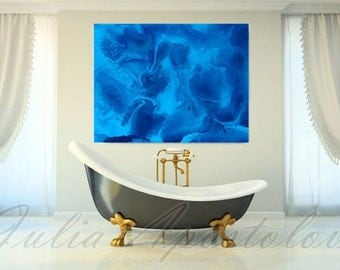 Blue Abstract Art, Blue Painting, Ocean, Turquoise Print, Water Painting, Sea Painting, Aqua, Modern Art, Blue Home Decor, Julia Apostolova