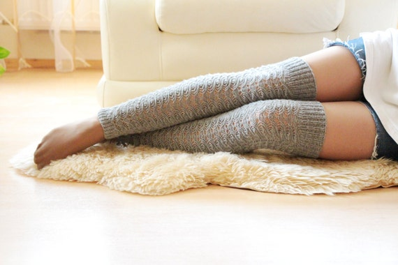 Grey knitting Long Socks over the knee Boot cuff Socks Winter fashion Long knitted wool Leg warmers Knee high socks-knitting S/M Christmas