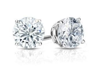 14k Gold 4-Prong Basket Round Diamond Stud Earrings 1.00 ct. tw. (H-I, I2)