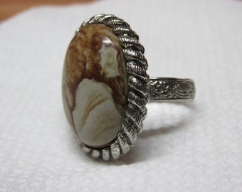 Adjustable Ring with Picture jasper stone..