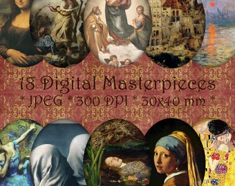 INSTANT DOWNLOAD World Paintings Masterpieces Cameos 30x40 mm ovals Digital Collage Sheet - for Jewelry, Crafts