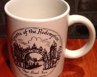 """Vintage collectible coffee cup from the """"Grotto of the Redemption"""" in West Bend, Iowa. Built by Rev. Paul Dobberstein."""