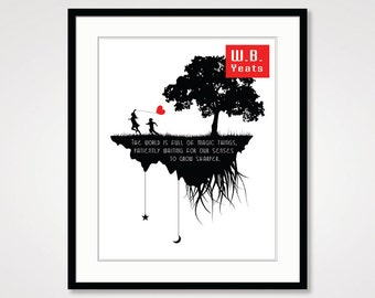 black and white art wb yeats quote motivational wall decor inspirational quote fantasy art print nature art literature poster literary art
