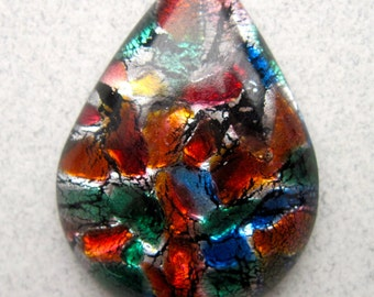 1 Beautiful Glass and Foil Teardrop Cabochons-