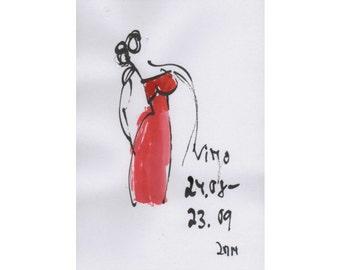 Jungfrau - Sternzeichen - Zeichnung- Original  free shiping Tusche Gouache Tier Aquarell 21x14cm gelb