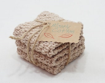 Crocheted Cotton Dishcloths, Tan Dishcloths, Linen, Tan, Gifts for Mom, Gifts under 20.00