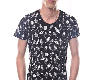 All Over Planet Print Galaxy Space Men's Slim Fit T-Shirt 100% Cotton Crew Neck S to XL