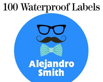 "Waterproof Moustache Name Labels - Baby Bottle Labels - Kids Name Tag Labels,  1"" Round"