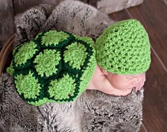Newborn Crochet Turtle photo prop