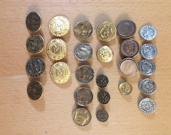"""Vintage Collectible Military """"Nostra Es Devs Spes"""" Buttons (26), England"""