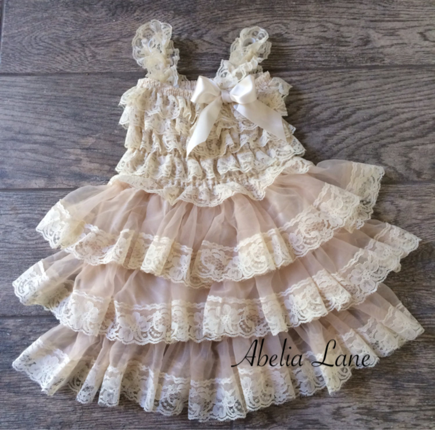 Lace Flower girl dress ivory lace dress baby lace dress