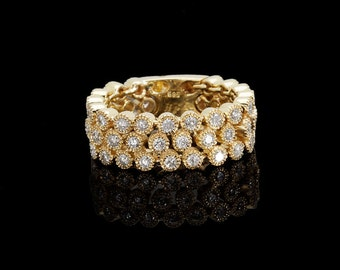 Diamond ring 0.96 ct - Yellow Gold Designer Diamond ring  with 48 Diamonds - Vintage ring, Anniversary Gift