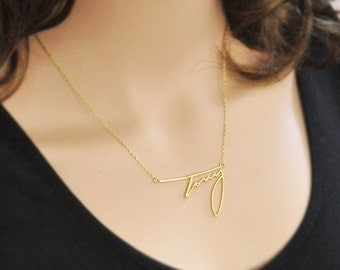 Personalized signature necklace,gold plated name necklace, custom handwriting necklace