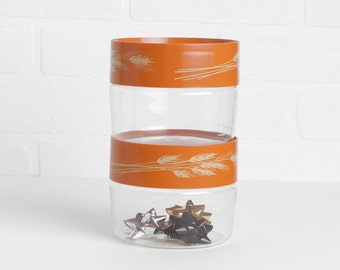 Vintage Pair of 70s Autumn Harvest Wheat Glass Pyrex Canisters with Lids, Pyrex Kitchen Storage Containers