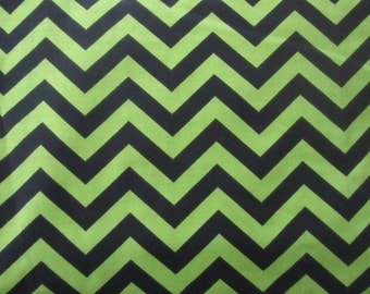 Lime Green and Black Chevron Fabric by the yard, 1 yard, 100% Cotton, Green and Black Zig Zag Fabric, Lime Chevron Fabric
