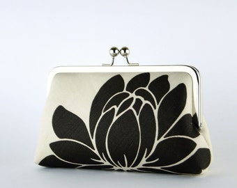 Bridesmaid Gift, Black Lotus Clutch, Silk Lining, Bridesmaid Clutch, Wedding clutch