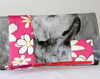 Clutch, Golden Retriever Eco Clutch, Recycled Bag, Denim Clutch, FlowerBag, Handbags and Pouches, Recycled Purse, Dog Purse, Evening Bag