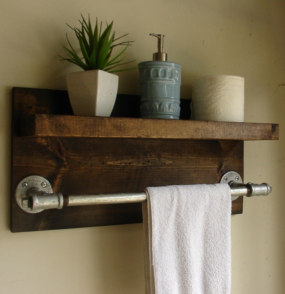 Wooden Shelf With Towel Bar: Industrial Rustic Modern Bathroom Wall Shelf With 18 By