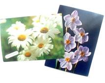 Vintage Soviet postcard set of 2 Soviet Greeting cards Russian floral postcards USSR era 80s