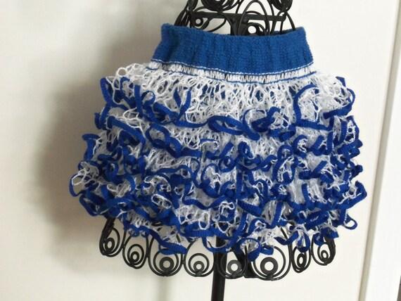 Baby or toddler ruffled skirt. Blue & White. Show your team spirit!
