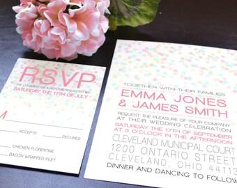 Emma Polka Dot Confetti Wedding Invitation Suite - Digital PDF