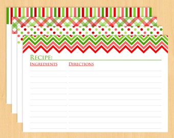 "Christmas Printable Recipe Cards 6x4"" - Editable and Lined"