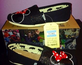 Black Disney Minnie Toms w/Glitter