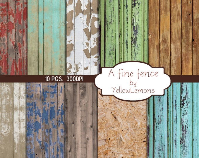 "INSTANT DOWNLOAD-Wood fence peeling paint Digital Scrapbooking Paper Pack, 12""x12"", 300 dpi .jpg"