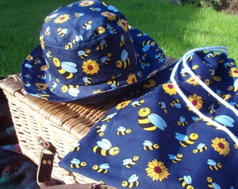 Sale! - Child's hat and matching drawstring bag