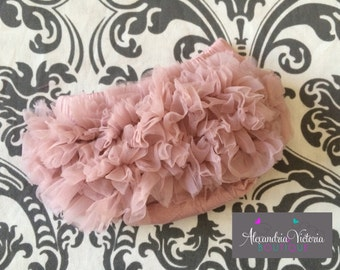 VINTAGE PINK BLOOMER, dusty rose baby bloomer, mauve bloomer, chiffon ruffle diaper cover, photo prop, newborn ruffle bloomer-ready to ship!