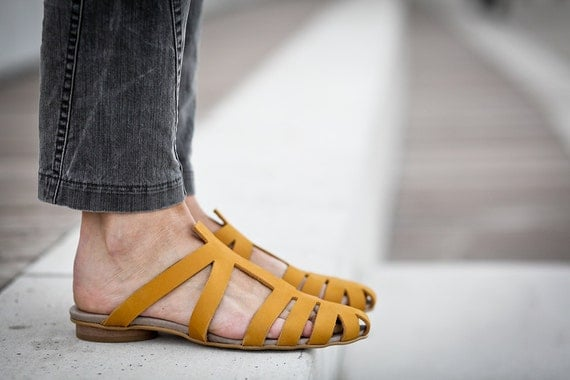 10% Sale, Alicia, Yellow Leather Sandals, Flat Summer Shoes, Pointy Shoes