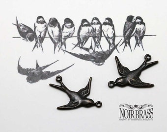 Antiqued Brass Swallow or Sparrow Bird Charms w/ 2 Rings Aged Black  - Noir Black Brass Findings - 6 pcs