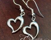 925 Sterling Silver Open Heart Earrings