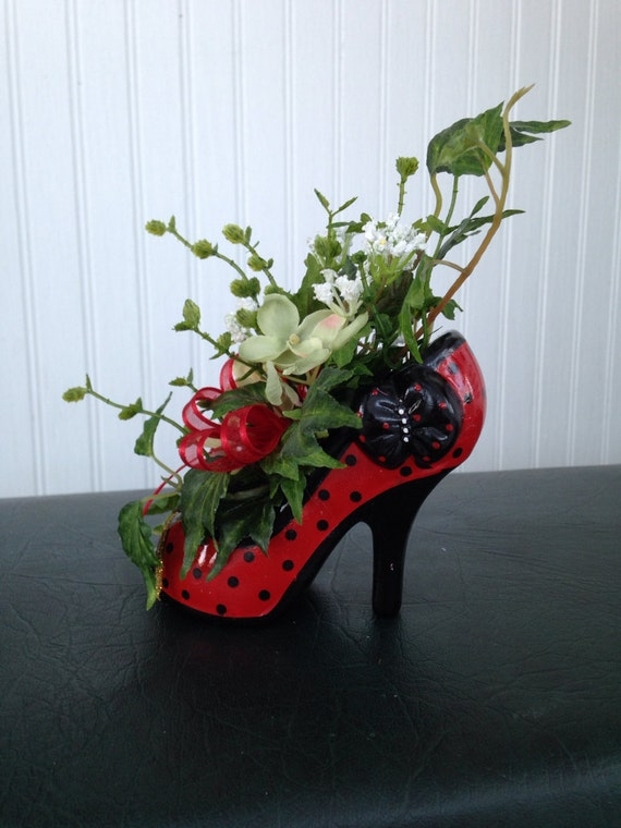Items similar to red glass diva high heel shoe flower